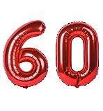 60歳誕生日 風船 巨大な誕生日バルーン「6」&「0」赤い数字風船パーティーお祝いの飾り付け (赤, 數字60)