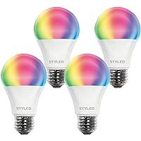 スタイルド スマートLED電球 4個セット 口金 E26 60W相当 Amazon Echo Google Home 対応 マルチカラー 調光 調色 ハブ不要 HLBDR60AGX4