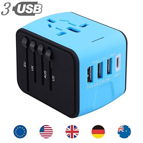 All in one海外旅行充電器 変換アダプタ マルチ変換プラグ 充電用USBポート3個 Type-Cポート付き 出張便利 持ち運びやすい ヨーロッパ/アメリカ/イギリス/オーストラリア等世界200ヶ国以上対応 (藍と黒)