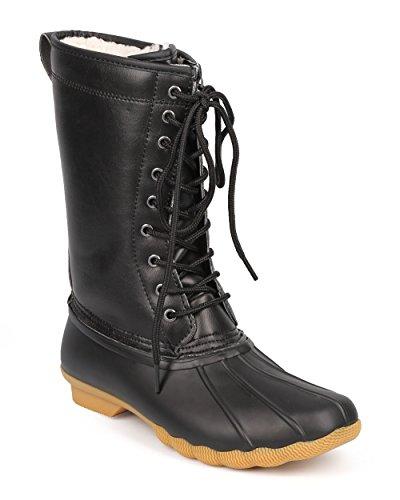 リフレッシュdd25レディース2トーンMix Media Shearling Lace Up Duck Boot–ブラック カラー: ブラック