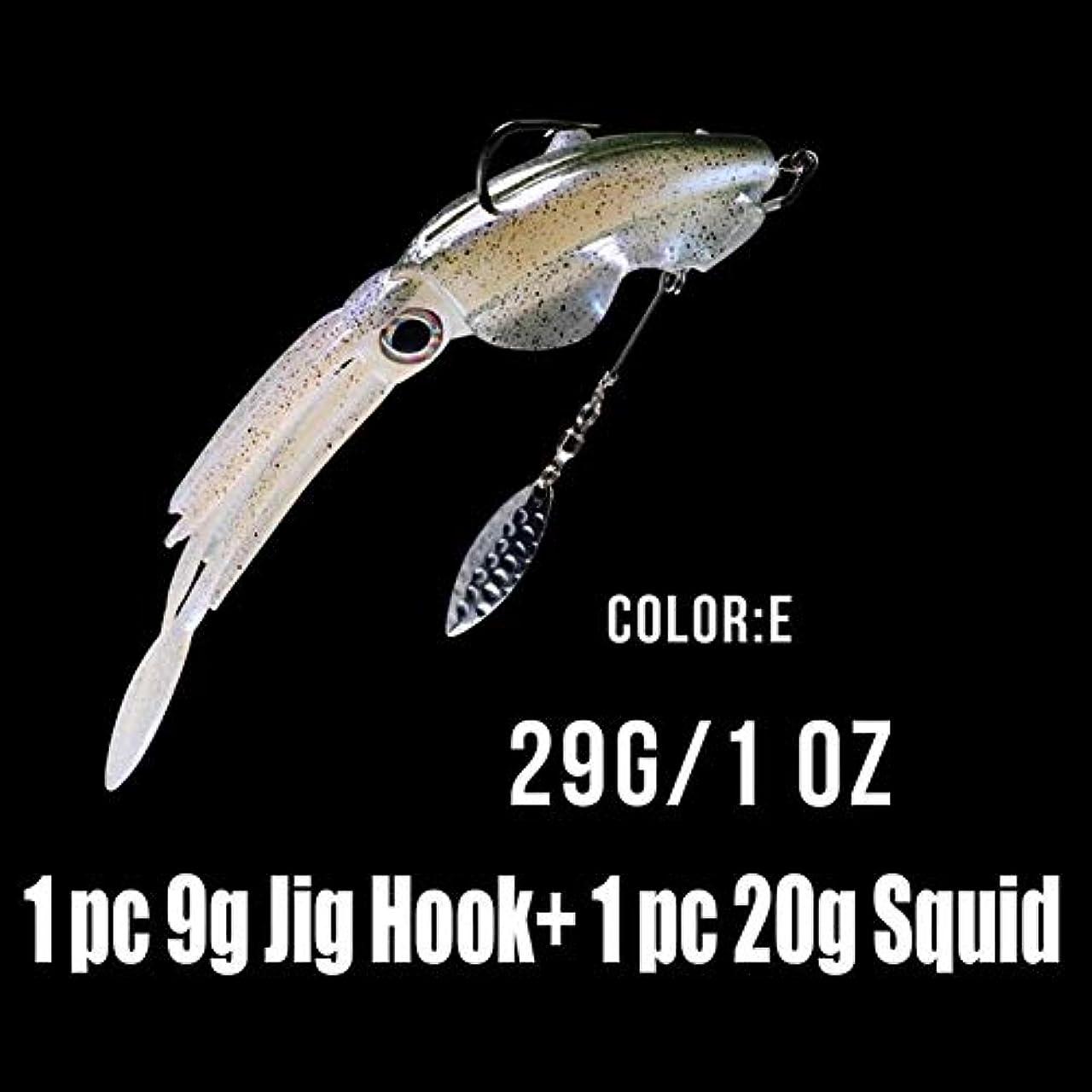 降臨チャンス受信機イカソフトベイト3Dアイ塩水釣りタコルアーブレードフック付き lutingstore (Color : 1pcs Color E)
