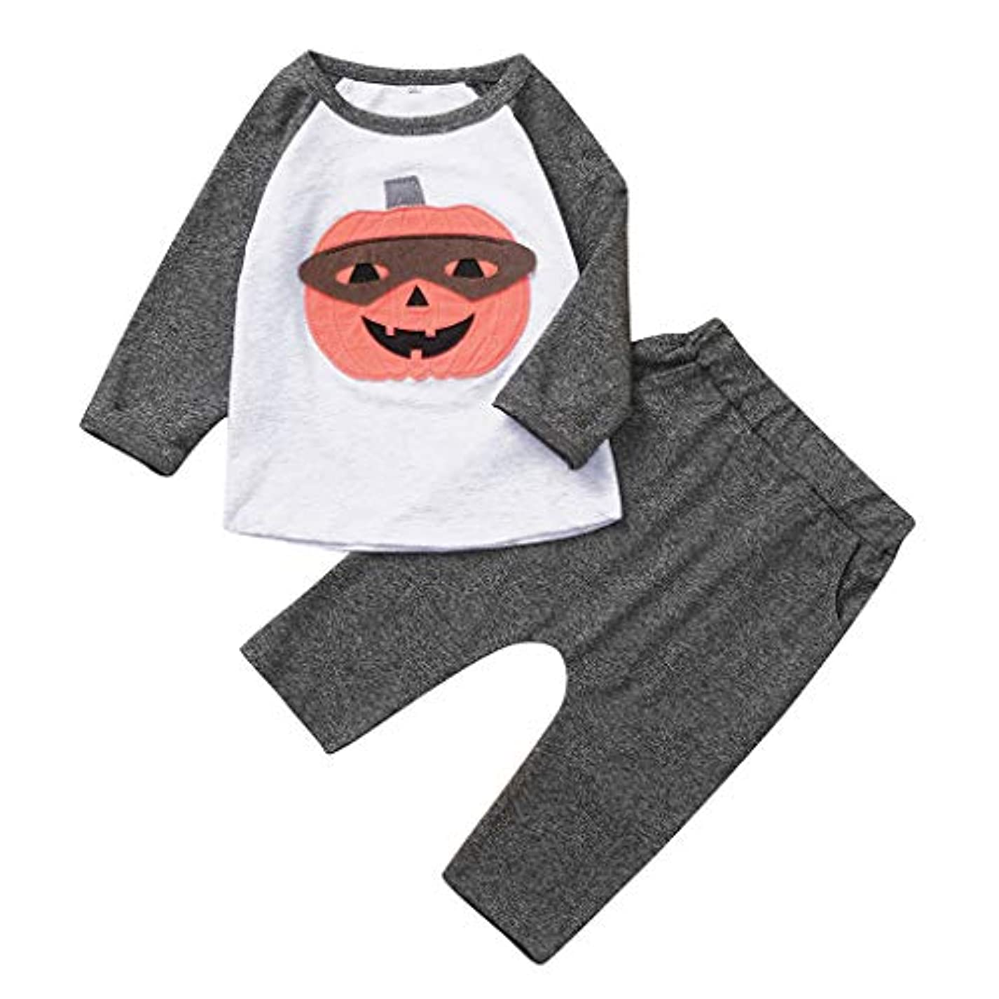 次所有者荒野MISFIY ハロウィーン キッズ 子供 新生児 ベビー服 上下セット かぼちゃ パジャマ 肌着 かわいい 柔らかい 誕生記念 出産祝い 寝相アート