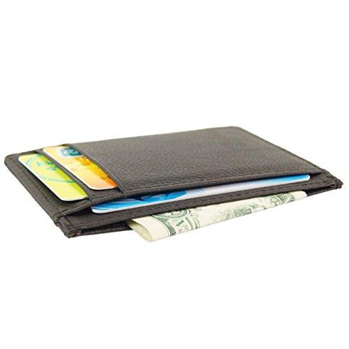 Genuine Leather Slim Front Pocket Card Case Credit Card Holder 7 Slots Wallet (Brown)