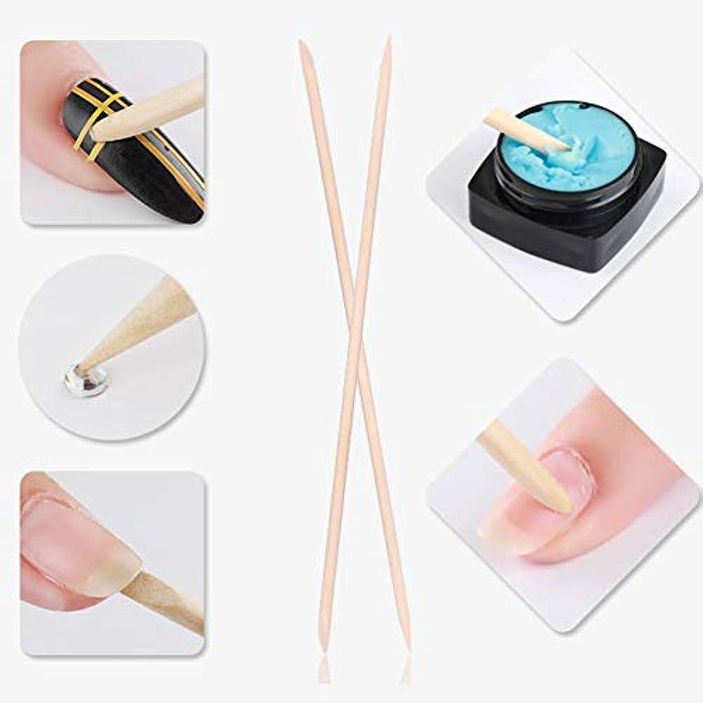 散らすゲージとまり木マニキュアペディキュア ネイルアートペイントパターン用 5本 ネイルキューティクルは木製スティック、ネイルキューティクルプッシャーを取り外します(1)