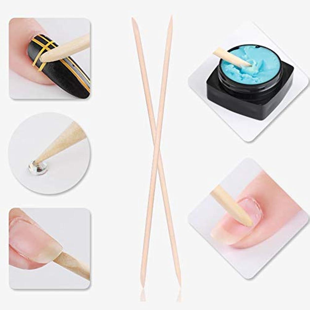 デモンストレーション頑張る音声マニキュアペディキュア ネイルアートペイントパターン用 5本 ネイルキューティクルは木製スティック、ネイルキューティクルプッシャーを取り外します(1)