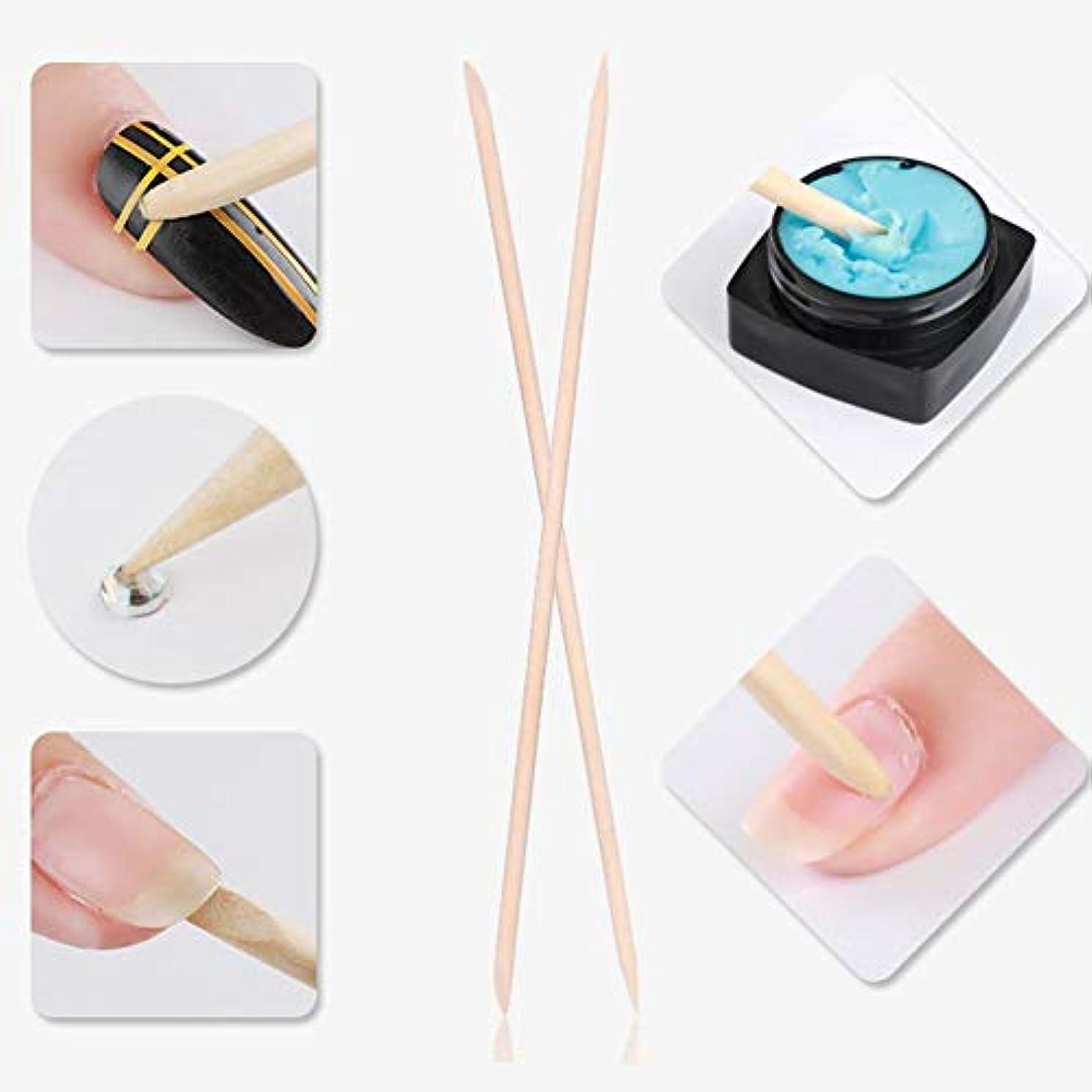 ユーモラスアイスクリームネクタイマニキュアペディキュア ネイルアートペイントパターン用 5本 ネイルキューティクルは木製スティック、ネイルキューティクルプッシャーを取り外します(1)