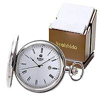 ROYAL LONDON(ロイヤルロンドン) 蓋付きクォーツ(電池式)懐中時計 90001-01 正美堂オリジナル懐中時計専用スタンドのセット[正規輸入品]