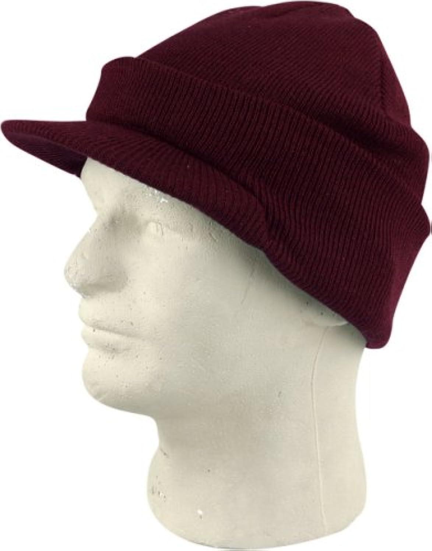 ニットCuffedバイザービーニースキーキャップ帽子in Burgundyレッド