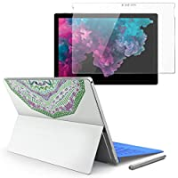 Surface pro6 pro2017 pro4 専用スキンシール ガラスフィルム セット 液晶保護 フィルム ステッカー アクセサリー 保護 模様 緑 紫 白 010144