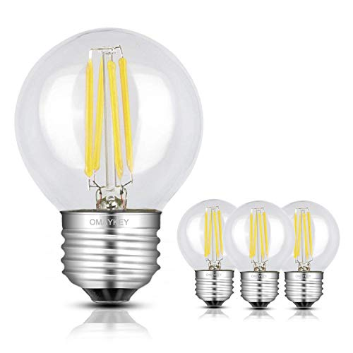 OMAYKEY LED電球 フィラメント 4W (50W形相当) 昼白色(5000K) E26口金 G50 レトロエジソン クリアガラス 一般電球・全方向タイプ 調光器非対応 4個入り