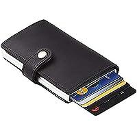 TERSELY Credit Card Holder RFID Blocking Wallet Slim Wallet PU Leather Vintage Aluminum Business Card Holder Automatic Side Slide Trigger Card Case Wallet Security Travel Wallet