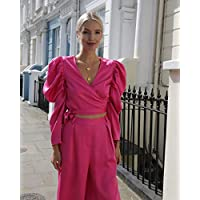 The Drop Women's Fuchsia Deep V-Neck Puff Long Sleeve Wrap Crop Top by @leoniehanne