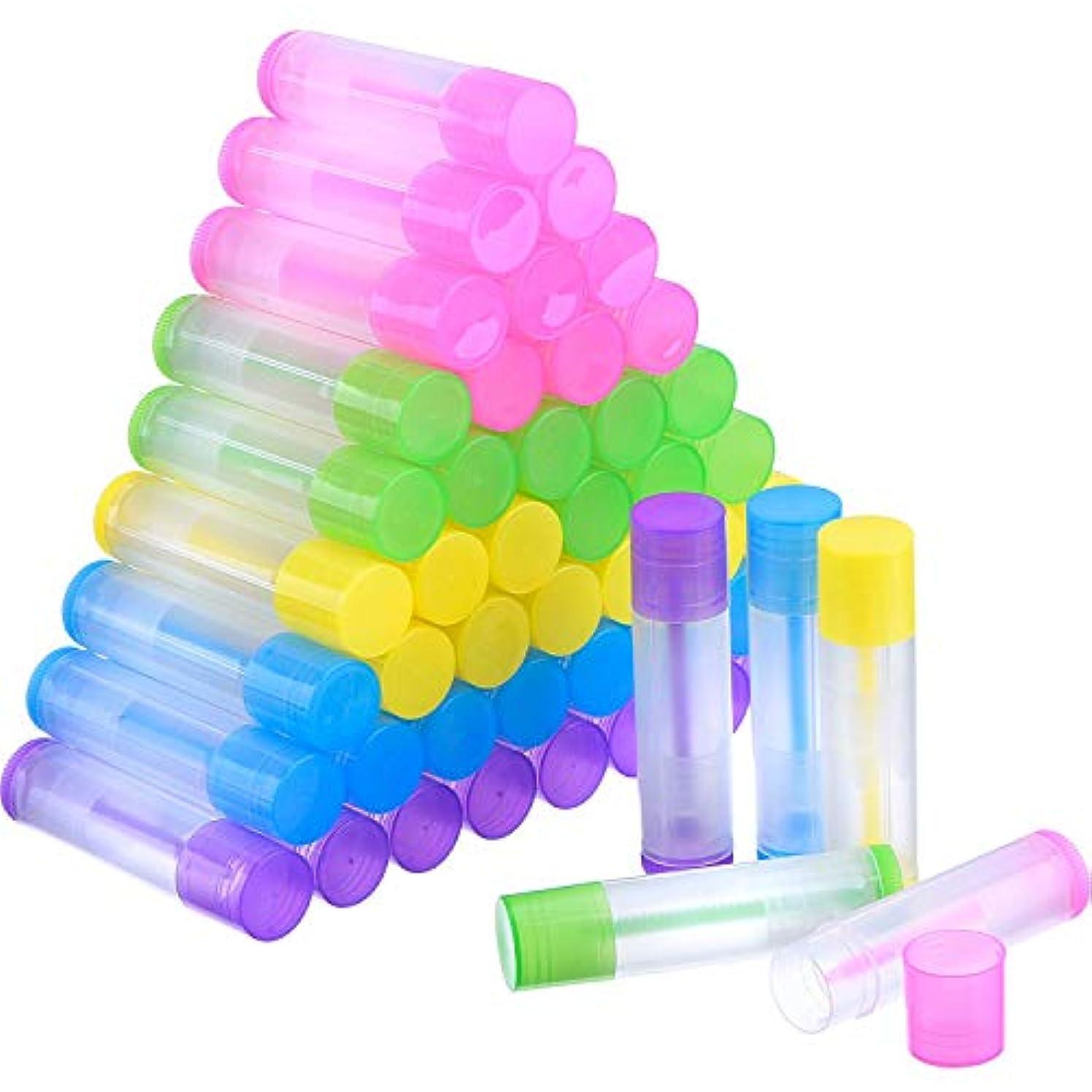 藤色ソーシャルお風呂を持っているCOOLBOTANG リップバームチューブ リップクリーム 繰り出し 手作りコスメ 手作り化粧品/リップクリーム 50個 5.5ml 詰め替え容器(5色)