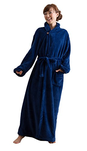 mofua ( モフア ) 着る毛布 プレミアムマイクロファイバー ガウンタイプ フリー  ネイビー 50036607