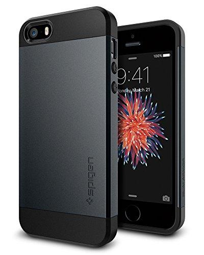 【Spigen】 iPhone SE ケース / iPhone5s ケース / iPhone5 ケース 対応 米軍MIL規格取得 耐衝撃 二重構造 スリム・アーマー 041CS20174 (メタル・スレート)