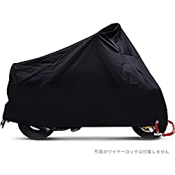 Bukm バイクカバー バイクを守る カバーバイク 盗難防止 風飛び防止 UVカット 防水 防雪 耐熱 高品質オートバイクカバー 収納袋付き ブラック