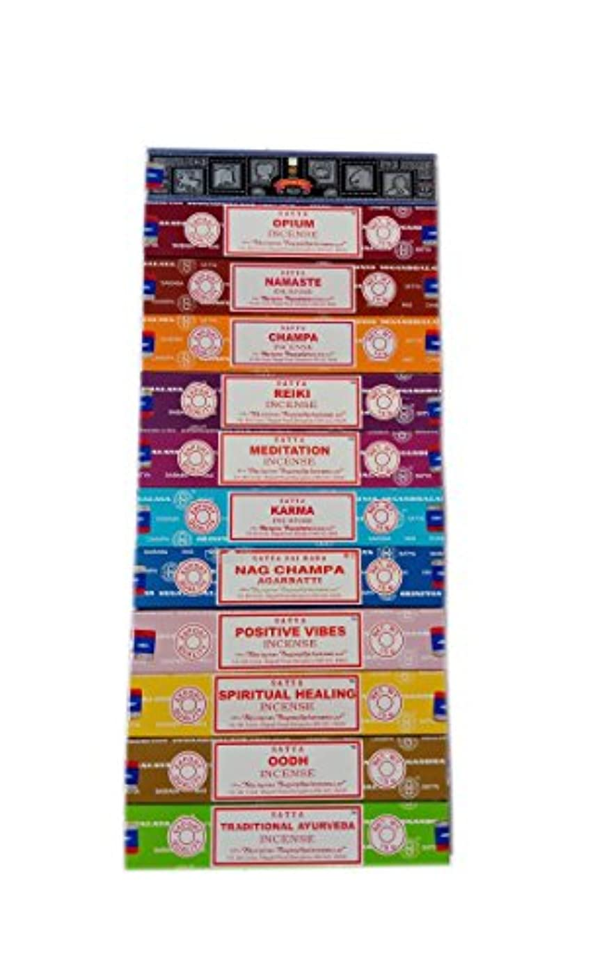 全部急いで航海Satya Incense Set 12 x 15gram含まれるもの:ナグ、スーパーヒット、ウード、ポジティブバイブ、ナマステ、チャンパ、アヘン、レイキ、スピリチュアルヒーリング、カルマ、伝統的なアーユルヴェーダ、瞑想パック