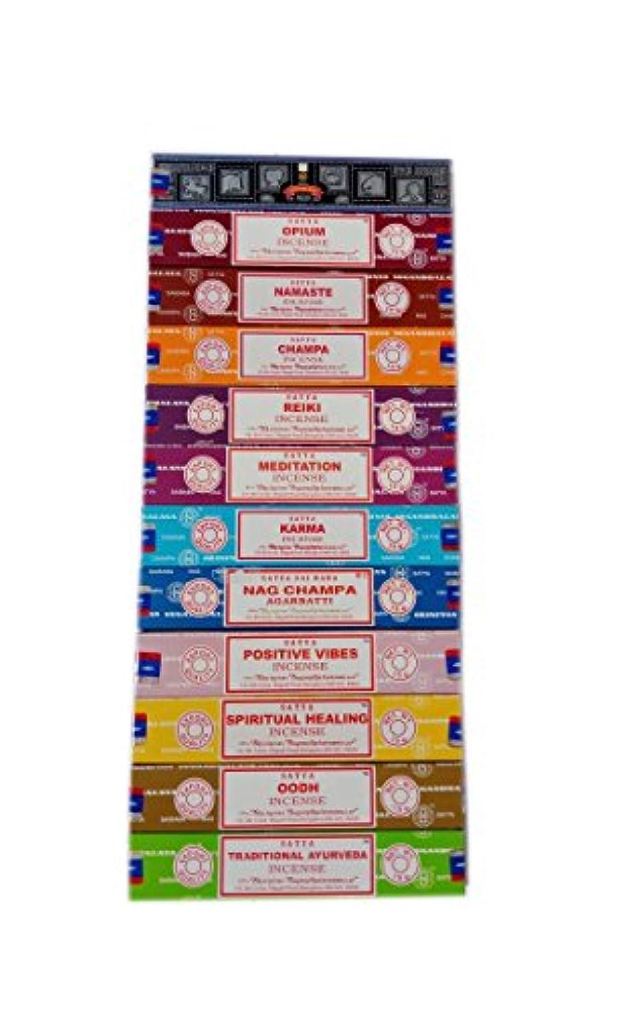 また明日ね駐地努力Satya Incense Set 12 x 15gram含まれるもの:ナグ、スーパーヒット、ウード、ポジティブバイブ、ナマステ、チャンパ、アヘン、レイキ、スピリチュアルヒーリング、カルマ、伝統的なアーユルヴェーダ、瞑想パック