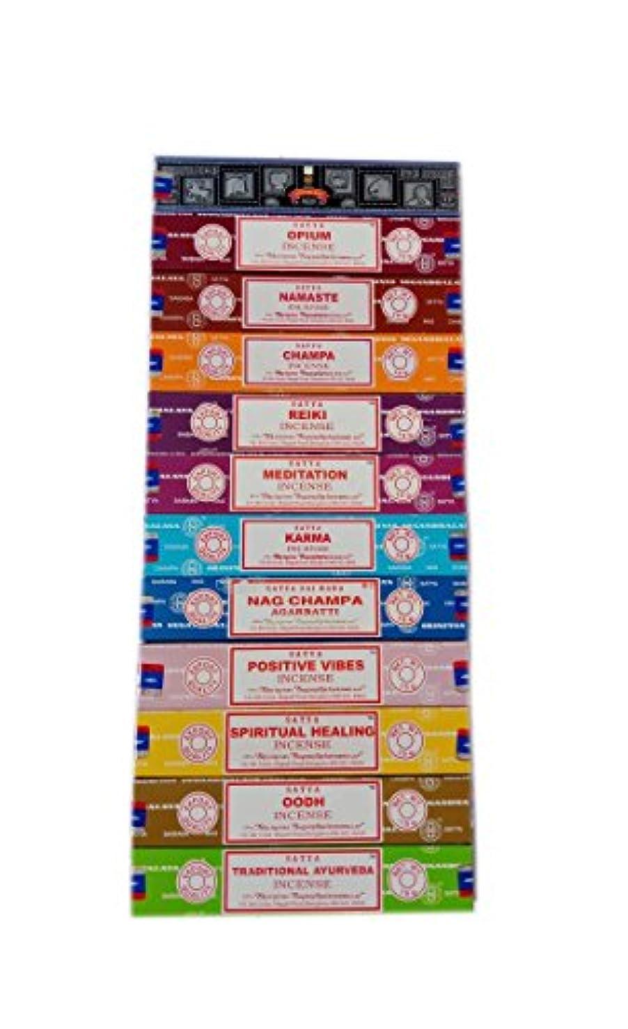 兵隊並外れてすでにSatya Incense Set 12 x 15gram含まれるもの:ナグ、スーパーヒット、ウード、ポジティブバイブ、ナマステ、チャンパ、アヘン、レイキ、スピリチュアルヒーリング、カルマ、伝統的なアーユルヴェーダ、瞑想パック