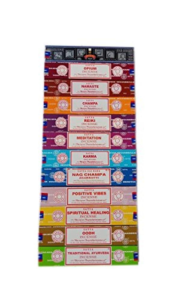 慣性カポックあまりにもSatya Incense Set 12 x 15gram含まれるもの:ナグ、スーパーヒット、ウード、ポジティブバイブ、ナマステ、チャンパ、アヘン、レイキ、スピリチュアルヒーリング、カルマ、伝統的なアーユルヴェーダ、瞑想パック