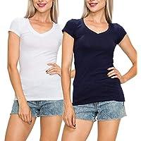 EttelLut Casual V Neck T Shirts Basic Plain Short Sleeve Cotton Top Packs