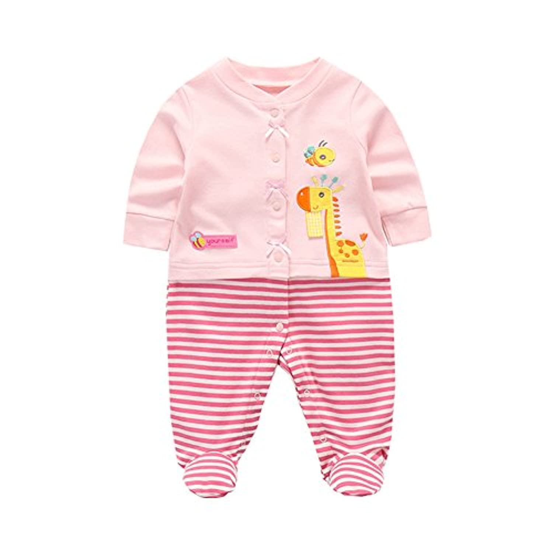 Fairy Baby ベビーロンパース 男の子 女の子 長袖 前開き 足つきカバーオール 動物柄 size 59 (ピンク キリン)