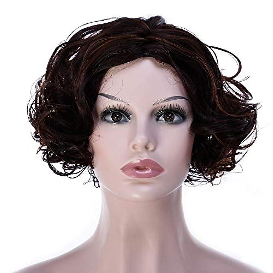 肥沃なキャロライン医療過誤WASAIO 女性の短い巻き毛のかつらアフリカのかつら女性の髪型 (色 : Dark brown)
