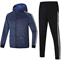 GEEK LIGHTING Men's Outdoor 2 Piece Jacket Pants Track Suit Sport Sweat Suit Set (A-Blue, Large)