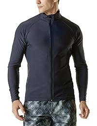 (テスラ)TESLA メンズ ラッシュパーカー 長袖 フルジップ [UVカット UPF50+・吸汗速乾] 水着 オーバーウェア MSZ03 (1サイズ ダウン)