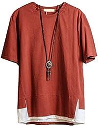 Hisitosa Tシャツ 半袖 メンズ カットソー 無地 ネックレス付き 薄手 涼しいゆったり かっこいい カジュアル ファション