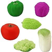 【ノーブランド 品】6本 かわいい ラバー きしむ 野菜 ベビー キッズ バスのおもちゃ 贈り物