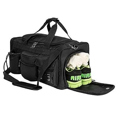 Riavika スポーツバッグ ジムバッグ ダッフルバッグ ゴルフバッグ フィットネスバッグ  軽い 大容量 トレーニングバッグ シューズ入れ 3way ボストンバッグ ブラック