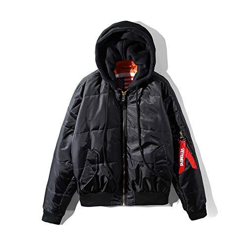 VETEMENTS HSTYLE ヴェトモン メンズ ダウンジャケット ブラック ジャケット ストリートスタイル 濃いブルー 防寒 アウター リバーシブルボンバージャケット 暖かい コート両面着