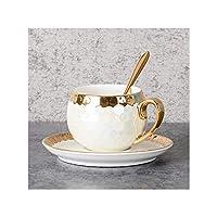 ステンレススプーンゴールドインレイ磁器のコーヒーカップソーサーとセラミックGreenflowsトルココーヒーカップは、アフタヌーンティーティーカップ、100ミリリットル約、イエローを設定します。