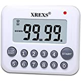 XREXS Digital Kitchen Timer Magnetic Countdown Up Cooking Timer Clock with Magnet Back and Clip, Loud Alarm, Large Display Mi