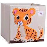 VMOTOR Foldable Animal Canvas Storage Toy Box/Bin/Cube/Chest/Basket/Organizer for Kids, 13 inch(Tiger)