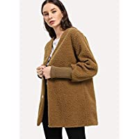 INFASHION Women's Camel Casual Solid Single-Breasted Teddy Coat with Long Sleeve Button