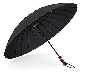 PLEMO 長傘 大きな傘 自動開けステッキ傘 紳士傘 耐風傘 撥水加工 梅雨対策 (ブラック&ブラウン2)
