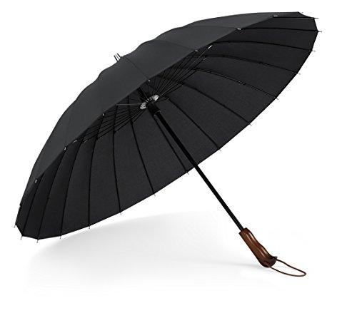 PLEMO 長傘 大きな傘 高強度24本傘骨 耐風傘 撥水加工 ブラック 103センチ
