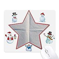 紙のテクスチャのきれいなきちんとしたひだ クリスマス・雪人家族ゴムのマウスパッド