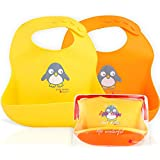 NatureBond Waterproof Silicone Baby Bibs for Babies & Toddlers (2 PCs) | Free Waterproof Pouch | Wipes Clean Easily, Soft, Unisex, Adorable | Perfect