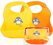 NatureBond Silicone Baby Bibs For Babies & Toddlers (2 Pcs) | Free Waterproof Pouch | Wipes Clean Easily,