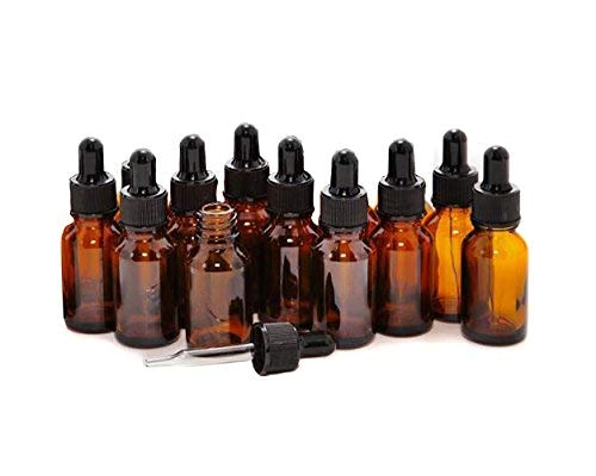 耐久いらいらする厚くする12 PCS Empty Refillable 10ML Amber Glass Droppers Essential Oil Bottles Aromatherapy Cosmetics Elite Fluid Container...