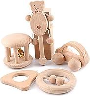 Baby Firstlook 木制搖鈴 手推車 5件套 搖鈴 寶寶 玩具 可愛聲音 木玩具 寶寶 兒童 禮物 禮物 新生兒 禮物
