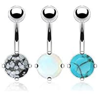 3 Piece Lot - Semi Precious Stones Opalite, Snowflake Obsidian & Blue Turquoise Belly Navel Piercing Bar Ring Jewelry 316L Surgical Steel 14g