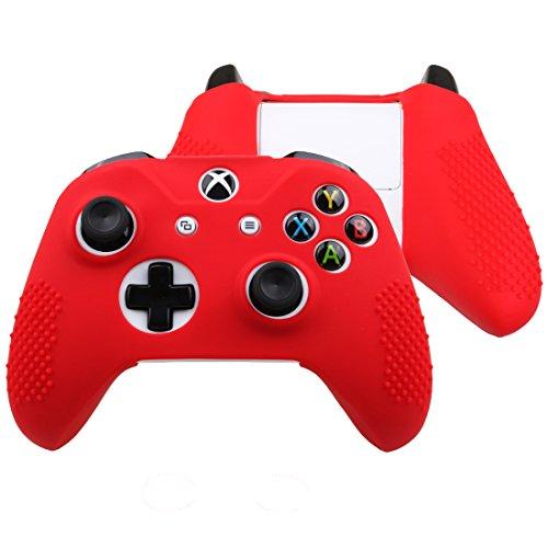 FTzone(エフティーゾーン)フルカバー Xbox One S コントローラー専用シリコンケーススキン保護(コントローラカバー x 1 + ティック カバー x 2)(赤)
