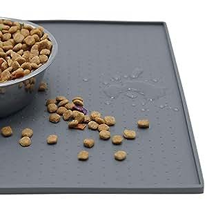 MKUTO ペット 猫 犬 マット 食事マット トレー シリコン製 食器 皿 給水器 滑り止め 溢れ止め 撥水 防汚 丸洗い(60x 40cm,グレー)