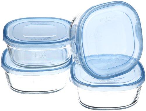 iwaki(イワキ) 耐熱ガラス 保存容器 450ml×4点セット 角型 アクアブルー NEWパック&レンジ KBT3240BLN
