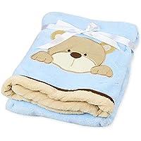 Cute Minorおくるみ 赤ちゃん ベビー タオルケット バスローブ 出産祝い (ブルー)