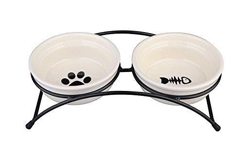 ペット 餌入れ 水入れ セラミック ボウル セット スタンド付き 猫 小型犬 食器...